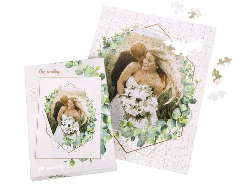 Box photo puzzle 200 pieces wedding