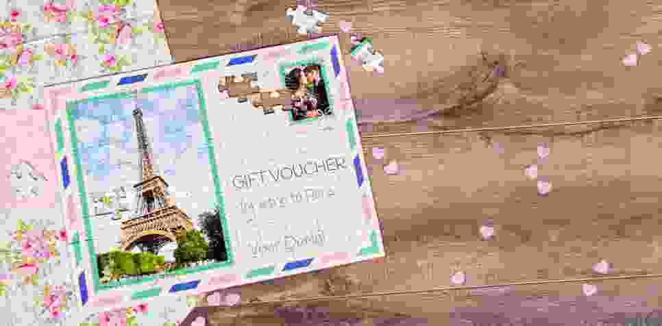 gift voucher on a jigsaw - vacation