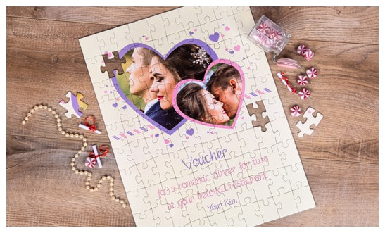 Valentine's Day gift: jigsaw puzzle as a gift voucher