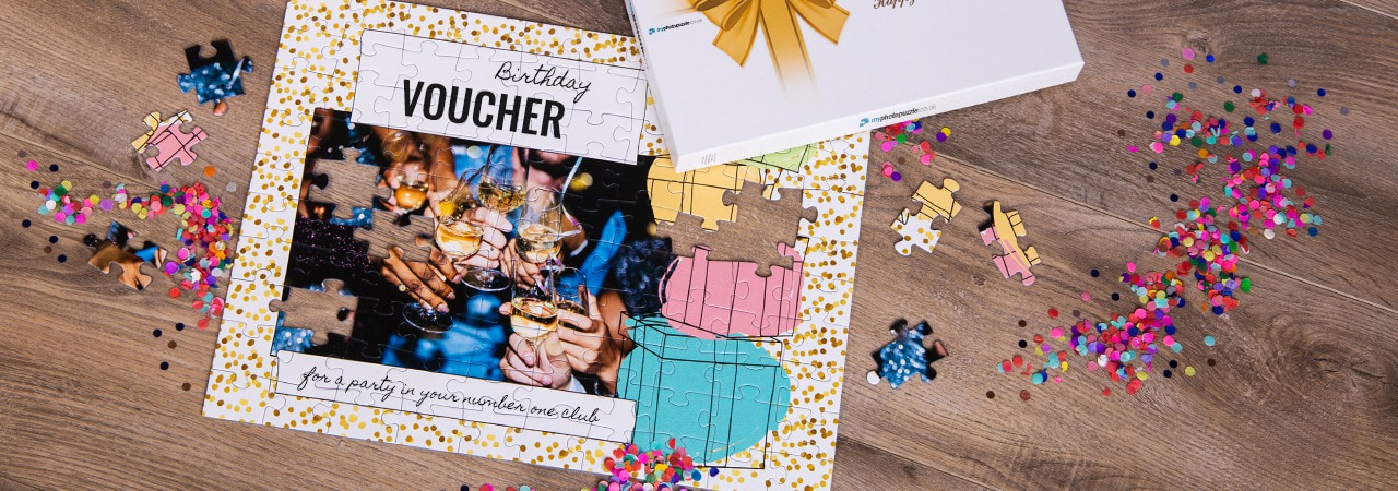 Gift voucher puzzle for a birthday
